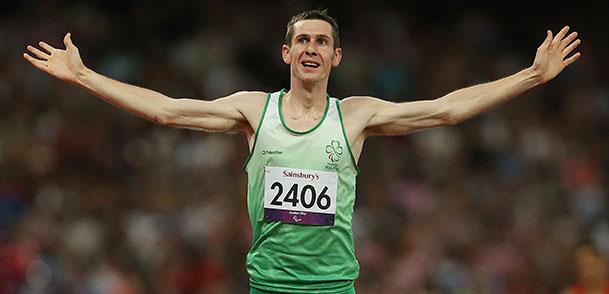 Michael McKillop celebrates winning gold 3/9/2012